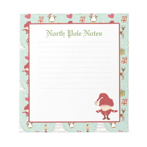 Holiday Christmas Santa Claus Lined Notepads   Zazzle