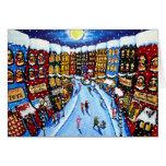 Holiday Christmas Shops Shoppers Folk Art Greeting Card
