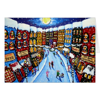 Holiday Christmas Shops Shoppers Folk Art Card