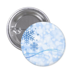 Holiday Christmas Snowflake Design Blue White Pins