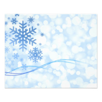 "Holiday Christmas Snowflake Design Blue White 4.5"" X 5.6"" Flyer"