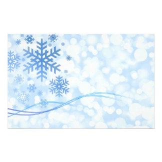 Holiday Christmas Snowflake Design Blue White Flyer