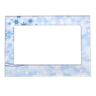 Holiday Christmas Snowflake Design Blue White Magnetic Photo Frame
