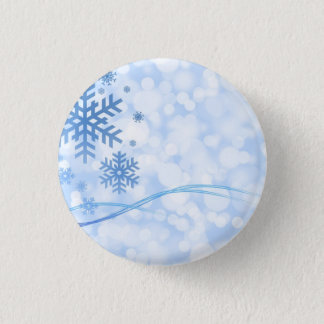 Holiday Christmas Snowflake Design Blue White Pinback Button