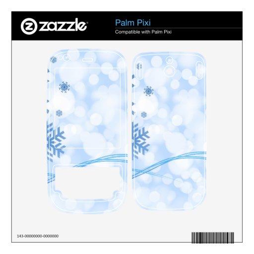 Holiday Christmas Snowflake Design Blue White Palm Pixi Skin