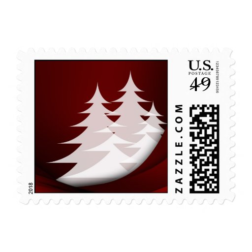 Holiday Christmas Tree Abstract Design Red White Stamp