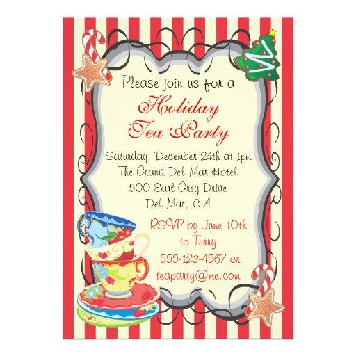 Holiday Christmas Victorian Tea Party Invitation
