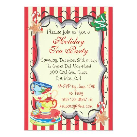Holiday Christmas Victorian Tea Party Invitation  ZazzleCom