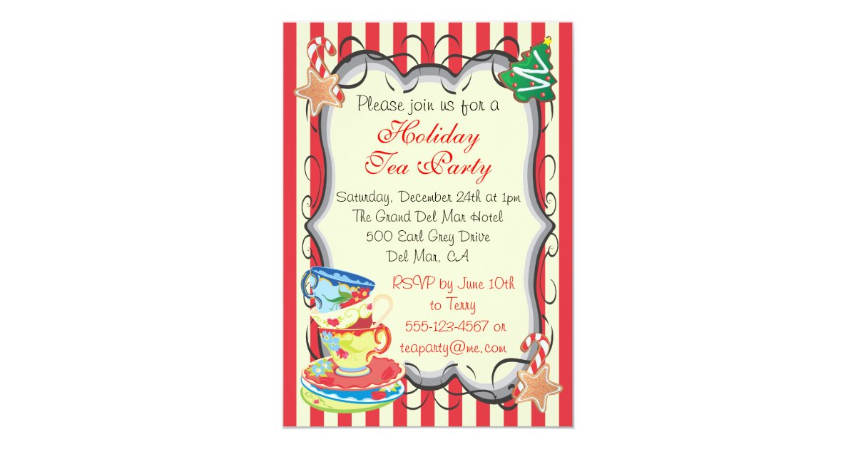Holiday Christmas Victorian Tea Party Invitation | Zazzle.com