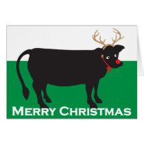 Holiday Christmas Whimsical Steer Card