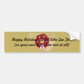 Holiday Christmas Wreath Red and Gold Bumper Sticker