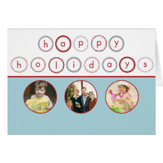Holiday Circle Banner - Blue Circle Pictures Card