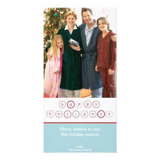 Holiday Circle Banner - Blue Personalized Photo Card