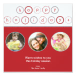 """Holiday Circle Banner - Red 5.25"""" Square Invitation Card"""