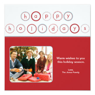 Holiday Circle Banner - Red Square Picture Card