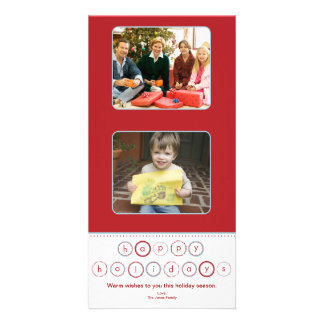 Holiday Circle Banner Squares - Red Personalized Photo Card