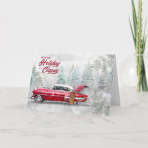 Holiday Classic Car Watercolor Sketch in Woodland