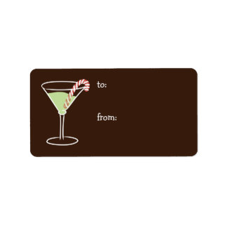 Holiday Cocktail Gift Tag Custom Address Label