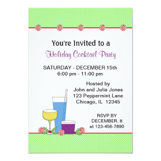 Holiday Cocktail Party Invitation-Drinking Glasses Card