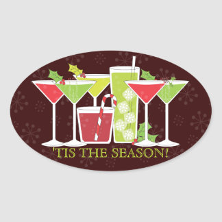 Holiday Cocktail Party Invitation Sticker