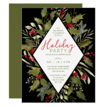 Holiday Cocktail Party Watercolor Vintage Holly Invitation