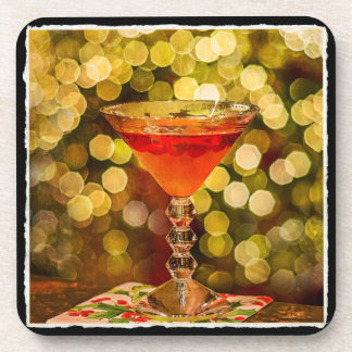 Holiday Cocktail with Lights Plastic/Cork Coaster
