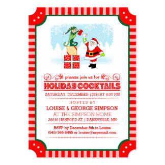 Holiday Cocktails - Santa & Elf Red & White Invite