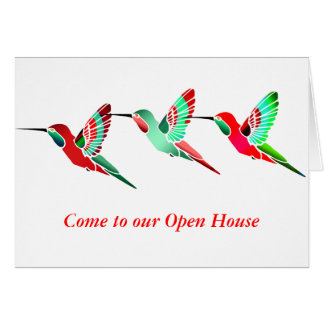 Holiday Colored Hummingbirds Stationery Note Card