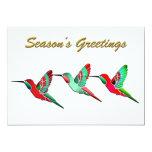 Holiday Colored Hummingbirds Custom Invites