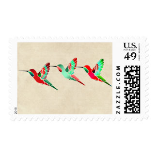 Holiday Colored Hummingbirds Postage Stamps