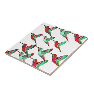 Holiday Colored Hummingbirds Small Square Tile