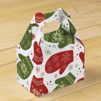Holiday Colored Mittens Gable Favor Box
