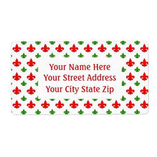 Holiday Colors Fleur de Lis Return Address Labels