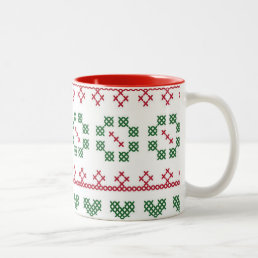 Holiday Colors Sampler Style Cross Stitch Mug