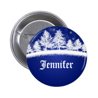 Holiday Company Party Name Tags Blue 2 Inch Round Button