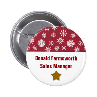 Holiday Company Party Snowflakes Name Tag DEEP RED Pinback Button