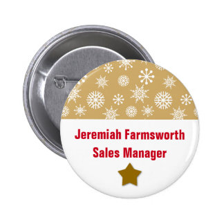 Holiday Company Party Snowflakes Name Tag GOLD Pinback Button