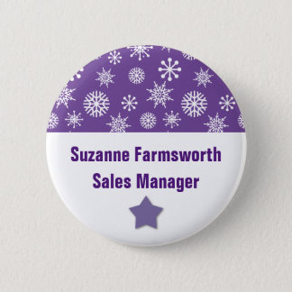 Holiday Company Party Snowflakes Name Tag PURPLE Button