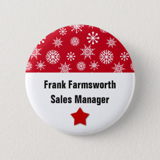 Holiday Company Party Snowflakes Name Tag RED 1 Button