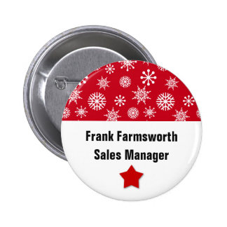 Holiday Company Party Snowflakes Name Tag RED 1 2 Inch Round Button