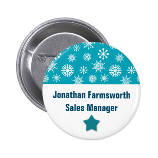 Holiday Company Party Snowflakes Name Tag TEAL 2 Inch Round Button