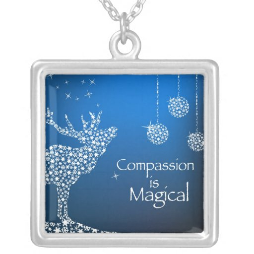 Holiday Compassion is Magical Square Pendant Necklace