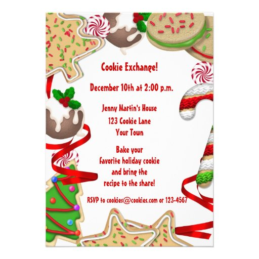 Holiday Cookie Border Exchange Invitation 5 X 7 Card Zazzle