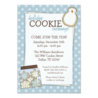 Holiday Cookie Exchange Blue Polka Dot Invitations at Zazzle