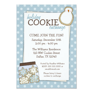 Holiday Cookie Exchange Blue Polka Dot Invitations