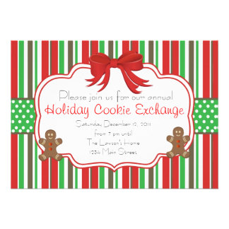 Holiday Cookie Exchange Ginger Bread Men Invitations