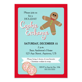 Holiday Cookie Exchange, Gingerbread Man 5x7 Paper Invitation Card
