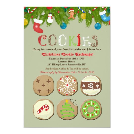 Holiday Cookie Exchange Invitation Zazzle Com