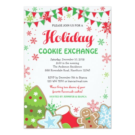 Holiday Cookie Exchange Invitation Cookie Swap Zazzle Com