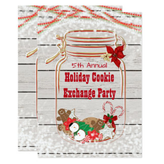 Holiday Cookie Exchange Mason Jar Invitations